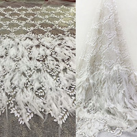 French Luxurious Sewing feather Lace Fabric Private custom Wedding Dresses Net fabric