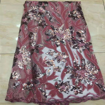2020 High Quality African Lace Fabric Peach French Net Embroidery Sequins Tulle Lace Fabric For Nigerian party Dress M15581