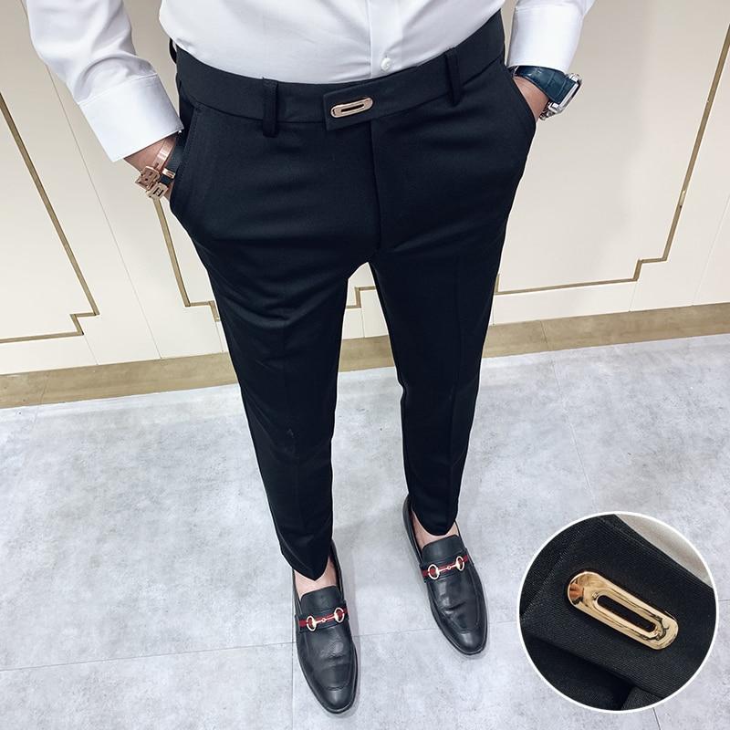 Casual Slim Fit Mens Dress Pants Streetwear Full Length Suit Pants Men 34 High Quality Gentlemen Office Trousers Men All Match