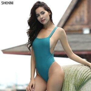 Раздельный купальник SHEKINI, Одноцветный купальник с открытой спиной, пляжный сексуальный купальник, монокини, лето 2019