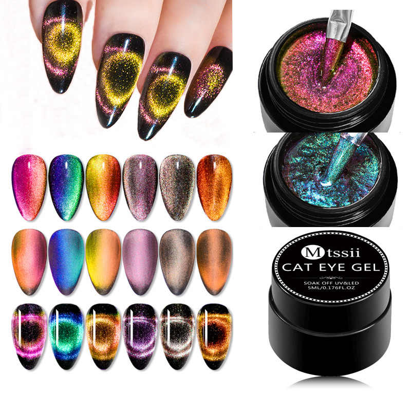 Mtssii 5 Ml 9D Galaxy Cat Eye Nail Gel Chameleon Magnetic Rendam Off UV LED Nail Polish 5 Ml semi Permanen Gel Manicure Lacquer
