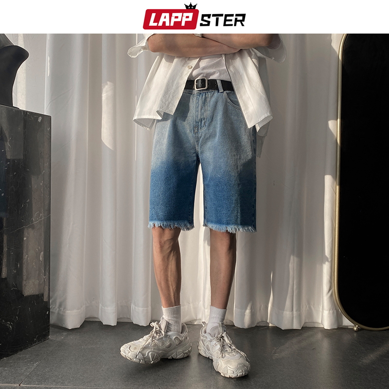 LAPPSTER Summer Men Korean Tie Dye Jeans Shorts 2020 Mens Japanese Streetwear Hip Hop Denim Shorts Male Casual Black Sweatshorts
