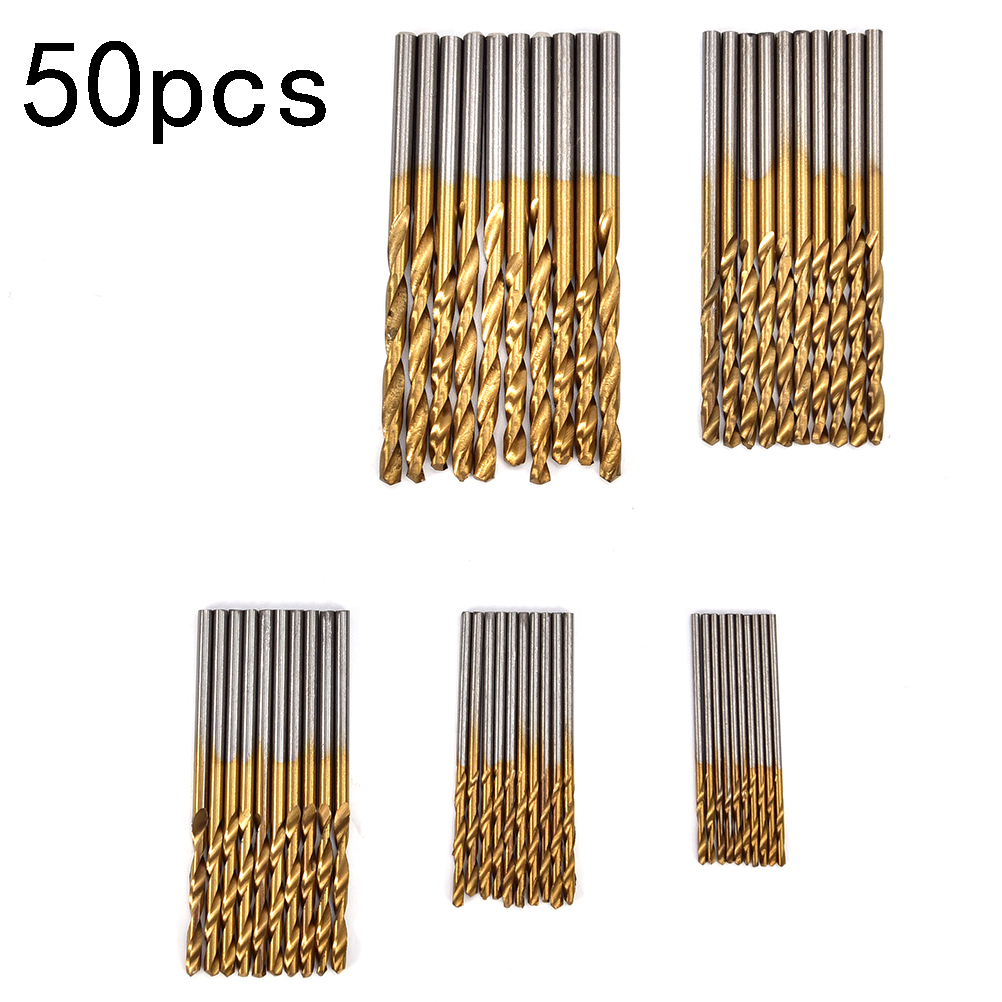 50PCs Titanium Coated Drill Bit Tungsten Carbide Twist Drill Bit Power High Speed Steel Tool Set 1/1.5/2.0/2.5/3mm