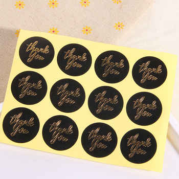 120pcs/Lot Kawaii Thank you Round Black Gold Scrapbooking Paper Labels Seal Sticker