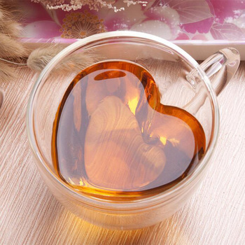 1PC Heart Love Shaped Glass Mug Couple Cups Double Wall Glass Mug Resistant Tea Beer Mug Milk Lemon Juice Cup Drinkware