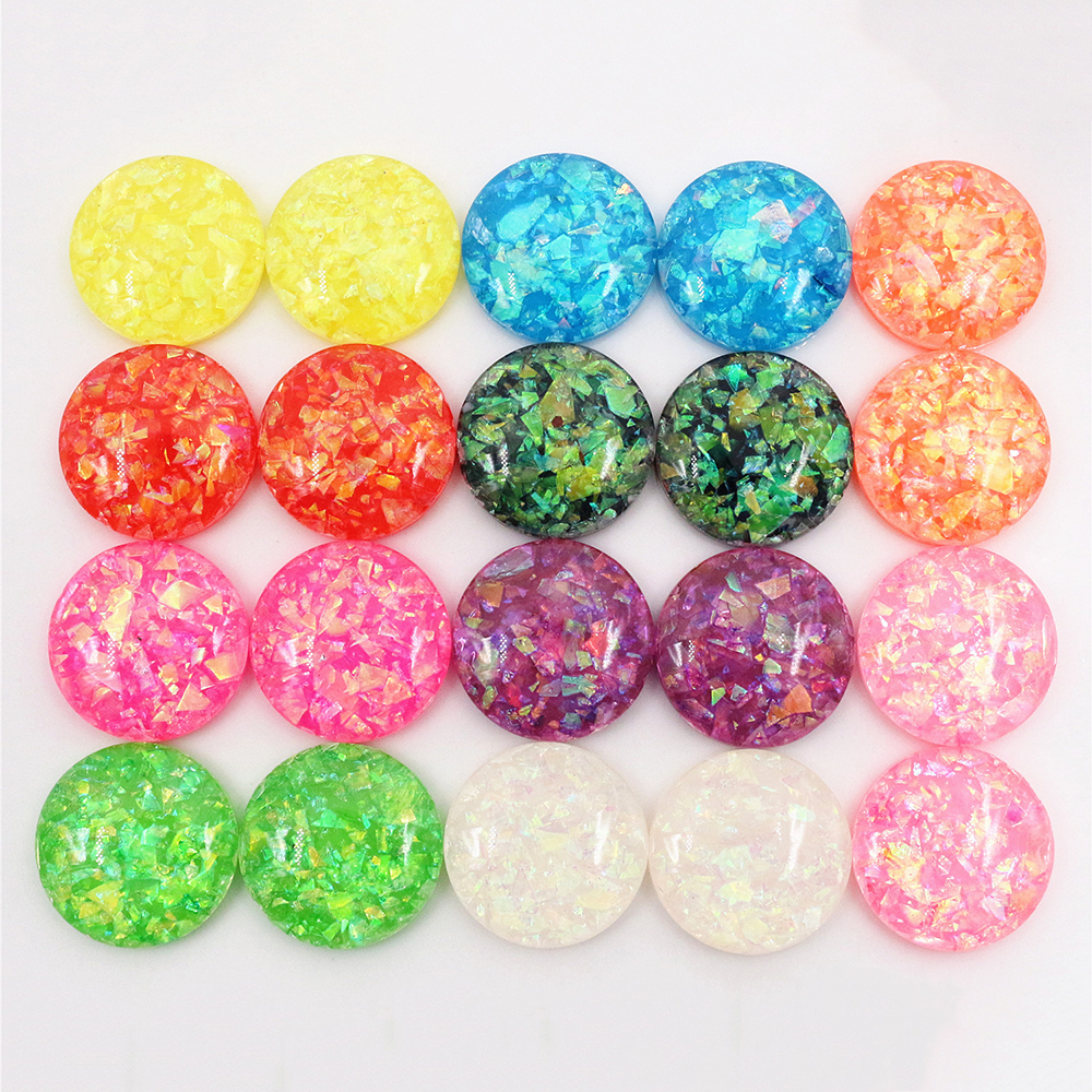 20mm 10pcs/Lot New Fashion Mix Color Built-in Metal Foil Flat Back Resin Cabochons Cameo V7-07