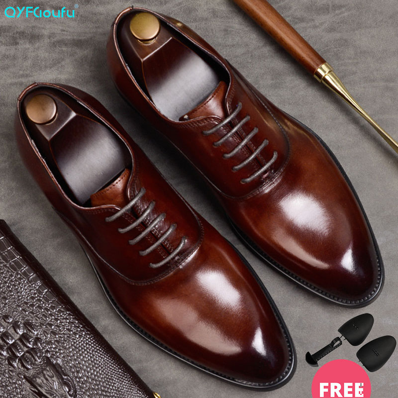 QYFCIOUFU Formal-Shoes Laces Italian Brogues Mens Wedding-Shoes title=