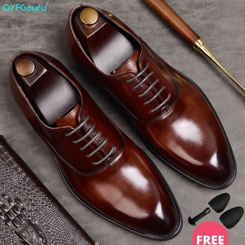 QYFCIOUFU zapatos formales para hombre, zapatos Oxford de cuero genuino para hombres, zapatos italianos de vestir 2019, zapatos de boda, cordones de cuero, Brogues