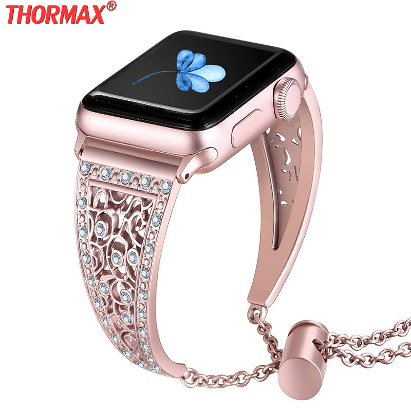 Luxury Diamond Rhinestone Watch Band For Apple Watch Band Replacement Strap Bracelet Wristband For Iwatch 5 Women Lady 38mm 40mm