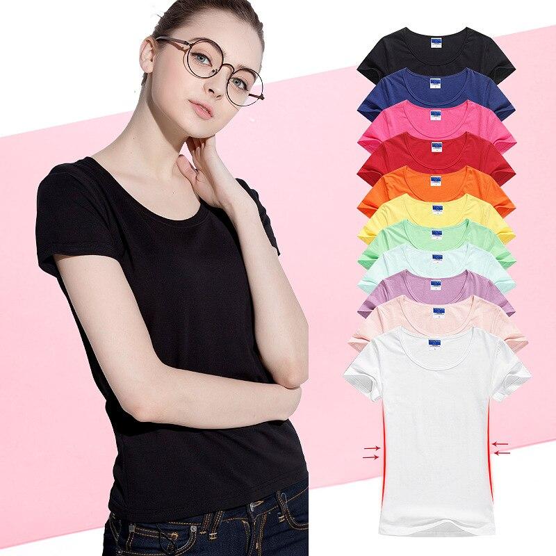 Женская хлопковая футболка, Повседневная Эластичная футболка с коротким рукавом, 15 цветов, лето 2020