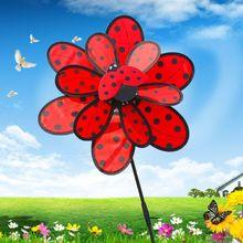 Toys Windmill Decoration Ladybug Pinwheel Garden Outdoor Kids Yard OOTDTY Baby Double-Layer
