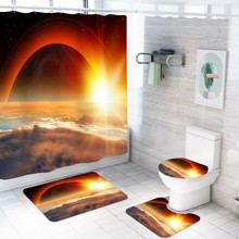 4 Pieces Bath Set  Sunset Solar Eclipse Print Anti-Slip Bath Rug Toilet Seat Cover Sunshine Cloud Shower Curtain Natural Series