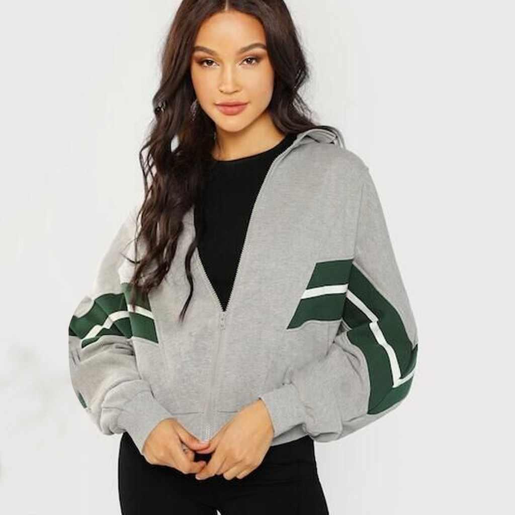 Musim Gugur Musim Dingin Wanita Sweatshirt Warna Yang Sesuai dengan Lengan Panjang Kasual Longgar Hangat Ritsleting Jaket Bisbol Memakai Kpop Bangtan