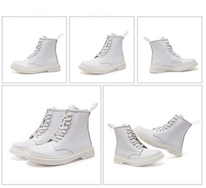 Image 5 - Soft Split Leather Women White Ankle Boots Motorcycle Boots Female Autumn Winter Shoes Woman Punk Motorcycle Boots 2020 Spring