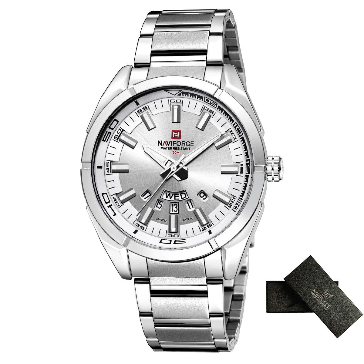 NAVIFORCE Brand Men Watches Business Quartz Watch Men's Stainless Steel Band 30M Waterproof Date Wristwatches Relogio Masculino 5