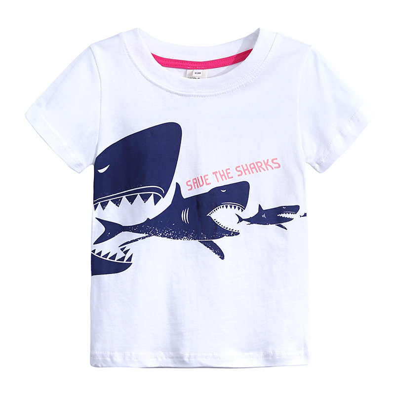 White Shark Little Boy t shirts Infant Boys Tee Shirts Summer Baby Boy's t-shirt Kids Top 100% Cotton tshirt Jersey Soft 1-6Year