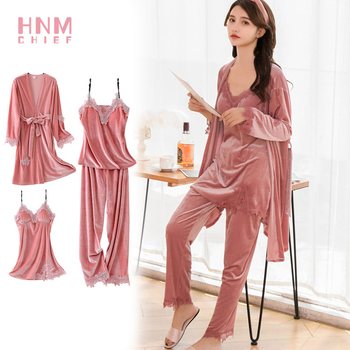 HNMCHIEF Pink Pyjama Suit Fashion Velvet 4 Pieces Warm Winter Pajamas Sets Women Sexy Robe Sleepwear Kit Sleeveless Nightwear pink back hook eye closure velvet bikinis sets