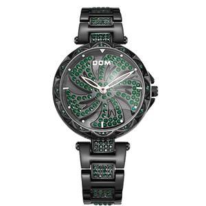 Image 5 - DOM Luxury Fashion Women Watches Lady Watch Stainless Steel Dress Women Bling Rhinestone Watch Quartz Wrist Watches G 1258BK 1MF