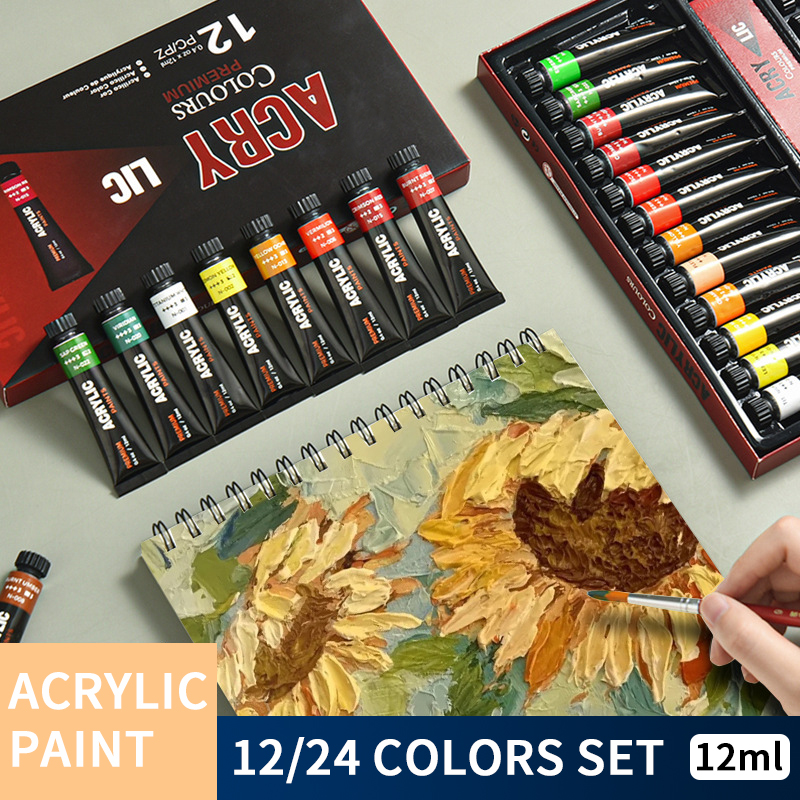 GIORGIONE 12/24 Color 12ml Tube Waterproof Acrylic Paint Set Suitable For Fabric Painting Hand Painted Artist Children Supplies