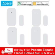 1-4 Uds Xiaomi Aqara Sensor de puerta Zigbee conexión inalámbrica Smart Mini puerta de la ventana de trabajo con puerta de entrada para Mijia Control de App