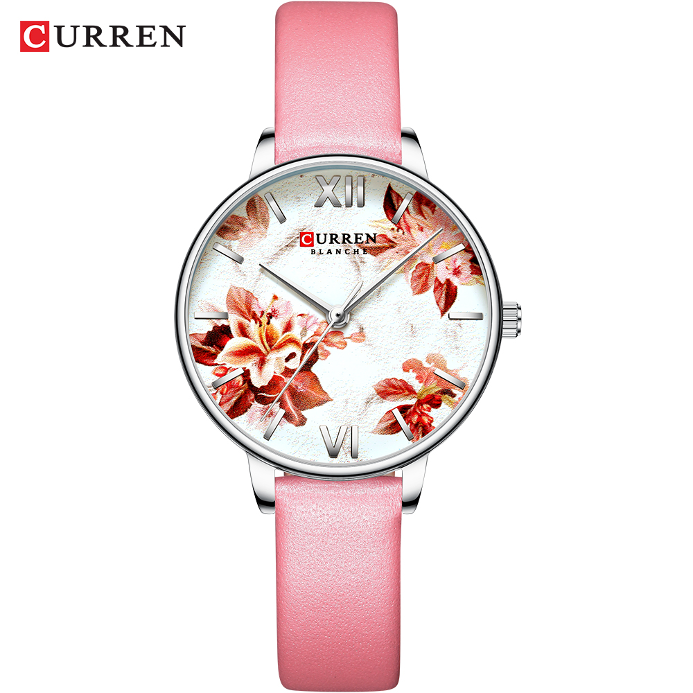 CURREN Beautiful Flower Design Watches Women Casual Leather Wristwatch Ladies Watch Fashion Female Clock Women's Quartz Watch
