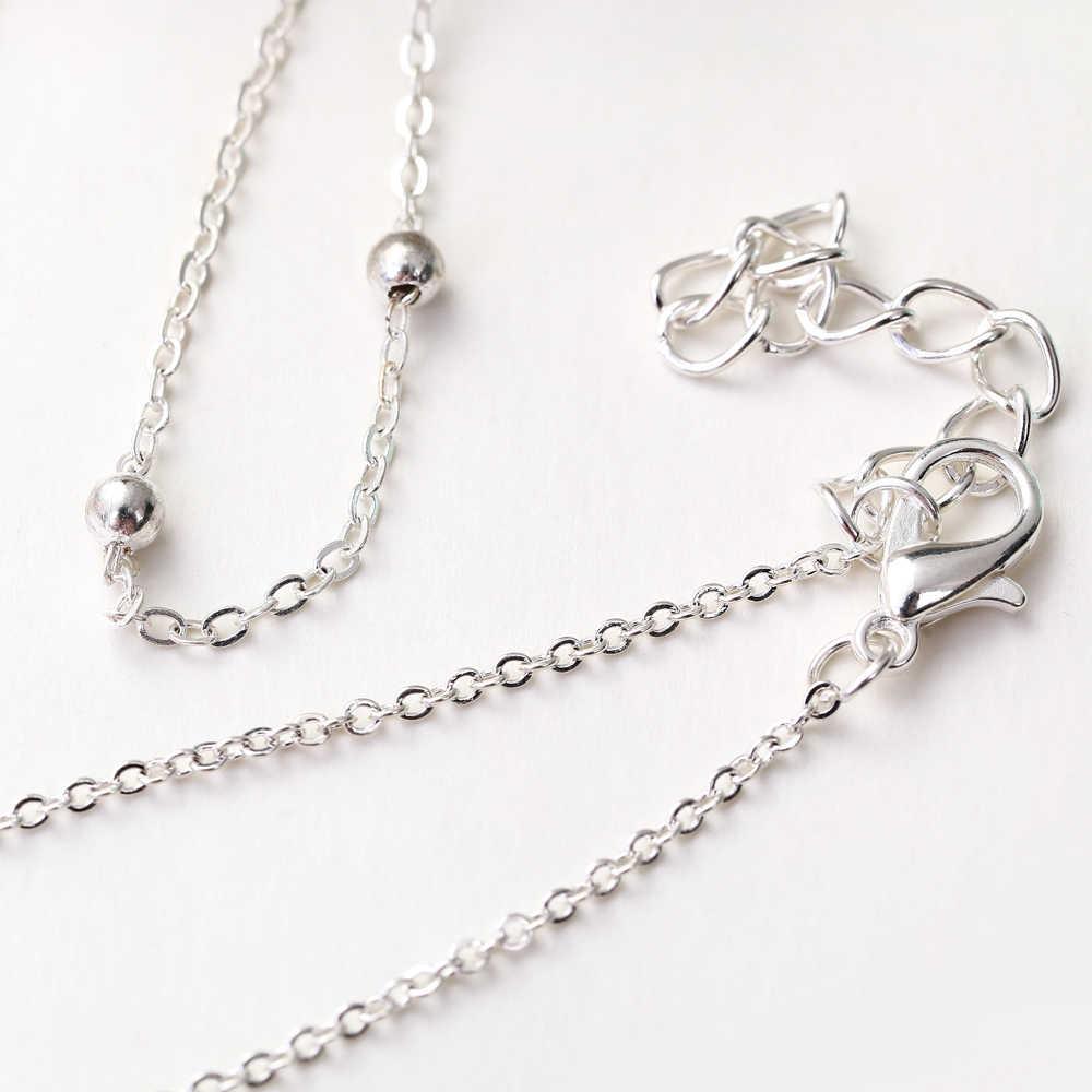 XIYANIKE Boho wielowarstwowe delikatny koralik srebrne obrączki dla kobiet księżyc w stylu Vintage plaża kostki bransoletka na nogę lato stóp biżuteria