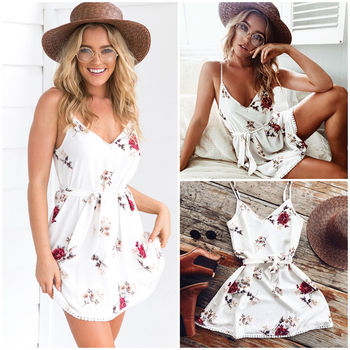 Summer New Fashion Ladies V-neck Tassel Backless Sexy Floral Print Dresses Women Summer Boho Spaghetti Suspender Dress tribal print tassel dress