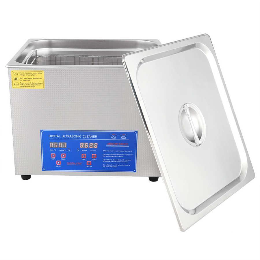 15L 400W Industrial Ultrasonic Cleaner Digital Stainless Ultrasonic Cleaner Bath Heater Tank Timer Heat High-power EU Plug 220V