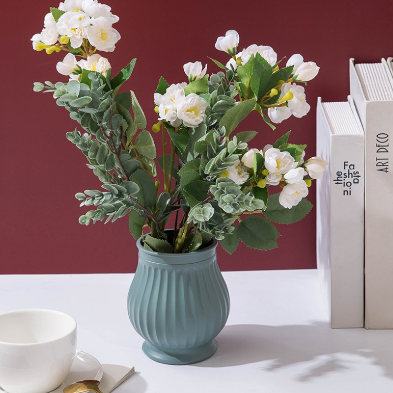 Florero de flores de plástico resistente a las caídas florero de decoración para casa florero blanco de imitación de cerámica|Jarrones|   - AliExpress