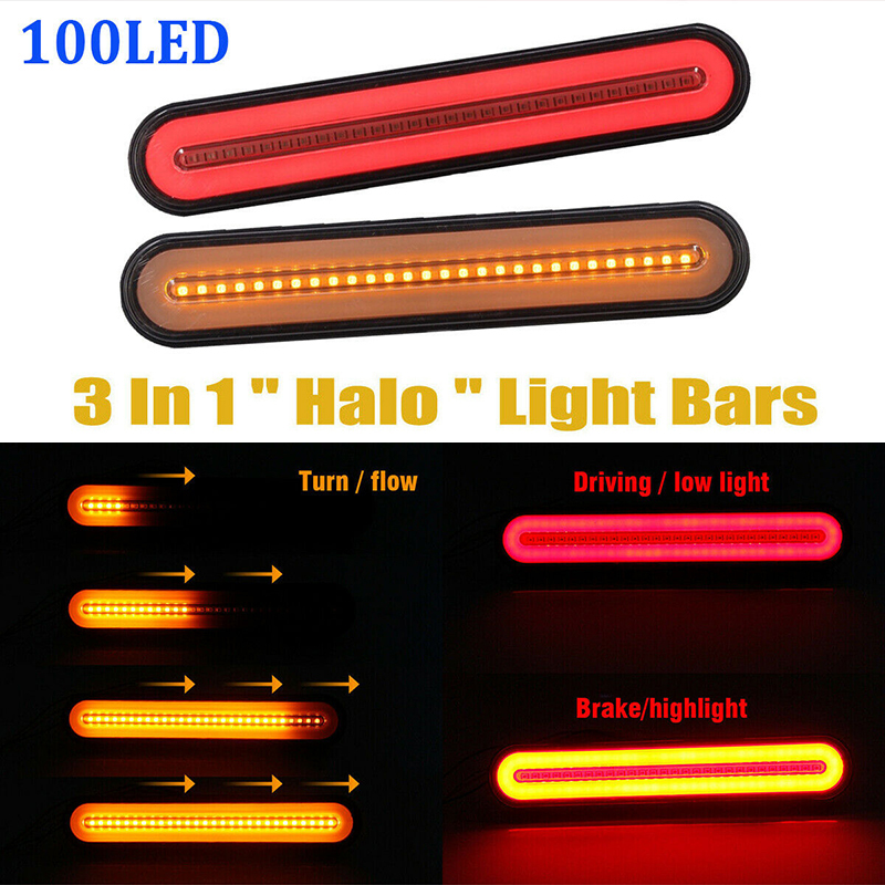 2pcs 3 In 1 Design Neon LED RV Trailer Truck Stop Flowing Turn Signal Brake Rear Tail Light  Waterproof