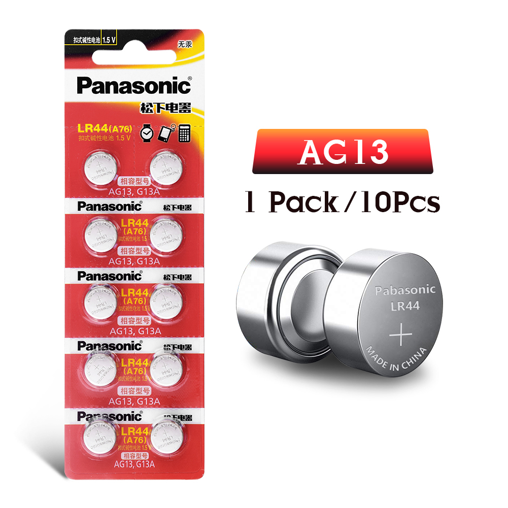 Panasonic 10pcs 2019 Promotion New 1.5v LR 44 LR44 AG13 Watch Clock Batteries Pilas GP76 L1154 LR1154 SR1154 SR44 SR44SW SR44W