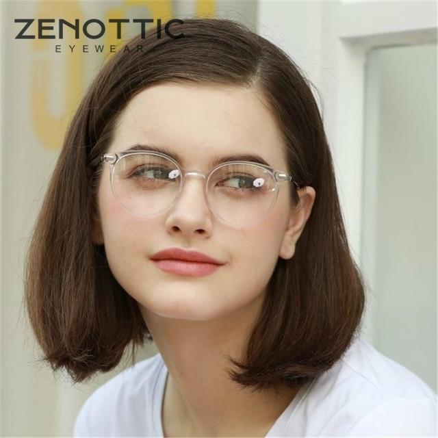 ZENOTTIC Retro Acetate Round Glasses Frame Women Transparent Optical Myopia Spectacles Vintage Ultralight Prescritpion Eyewear