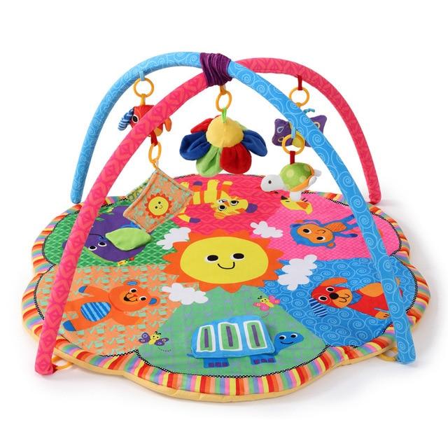 Cartoon animal Baby Activity Mat z stojakiem mobilne łóżeczko wielofunkcyjne dywan sensory edukacyjne dywan zabawki dla dzieci siłownia miękka mata do zabawy