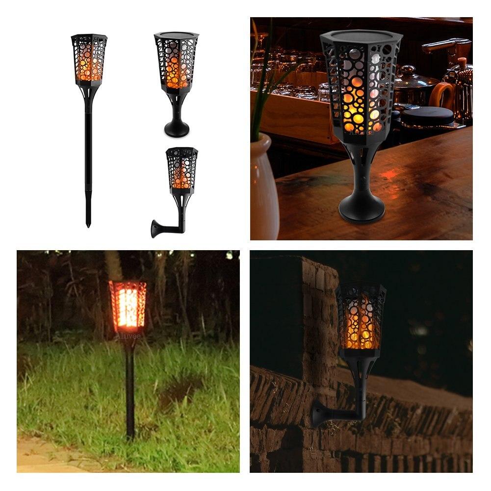 33/51/72LED impermeable llama intermitente linterna Solar lámpara de jardín decoración de paisajes de exterior jardín Luz de césped - 5