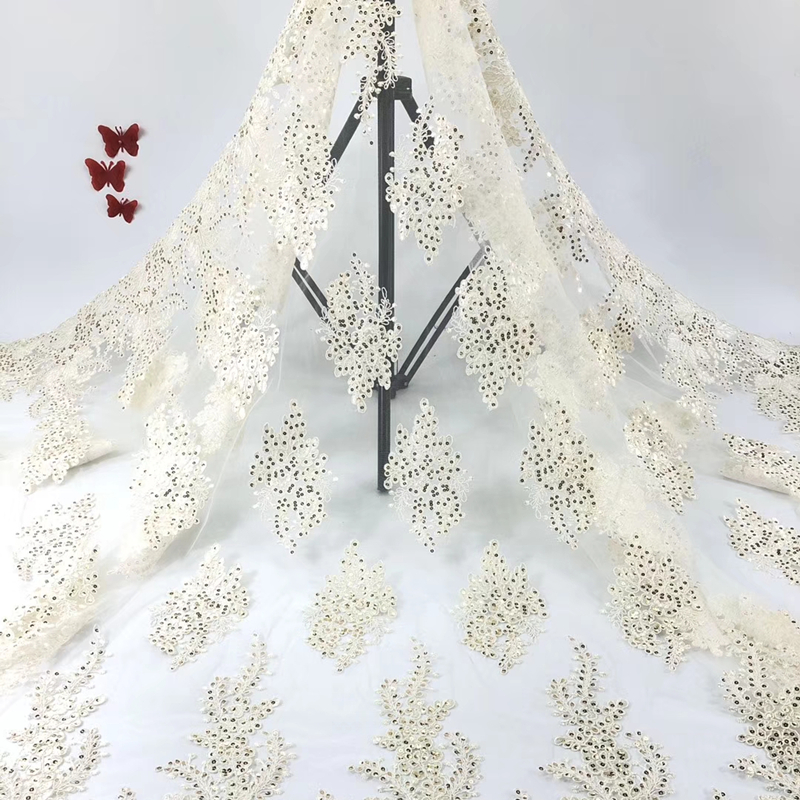 New African Lace Fabrics 6 Colors 2020 High Quality Embroidery Sequins French Nigerian Tulle Lace Fabric For Wedding Party Dress