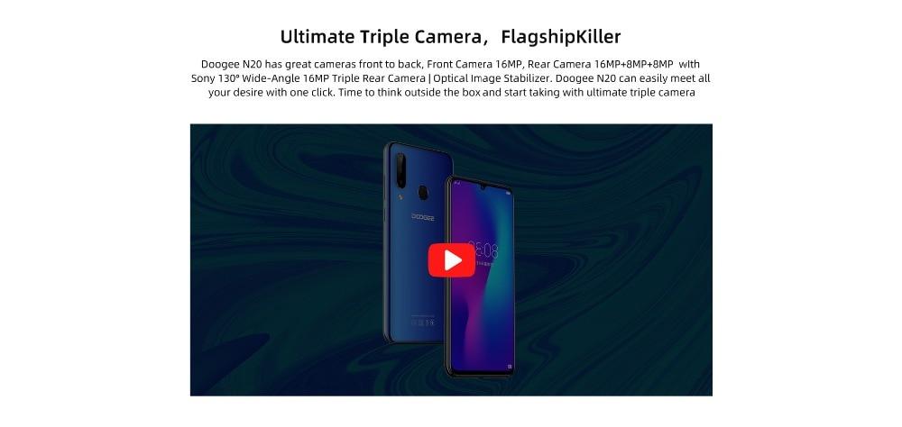 H55900623c96a465d895f6a6467ce5bab0 DOOGEE N20 New 2019 Smartphone 6.3inch FHD+ Display 4350mAh 4GB+64GB Octa Core 10w charge Fingerprint 16MP Triple Back Camera