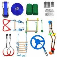 Ninja Warrior Obstacle Course Ninja Slackline Various Accessories As Swing Obstacle Net GYM Rings Monkey Bars Kit Rope Ladder