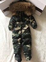 Mother baby 2019 winter Real Raccoon fur Hooded Snow Wear Warm Outerwear Ski wear