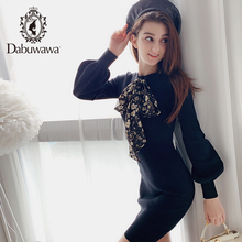 Dabuwawa 니트 보우 여성 드레스 랜턴 슬리브 사무실 레이디 가을 솔리드 블랙 드레스 소녀 bodycon 패션 dn1ddr017