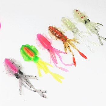 2Pcs*10/12/15cm Glow Fishing UV Squid Soft Lure Luminous Octopus Pesca Sea Fishing wobbler Bait Squid Jigs Fishing Tuna Lure 1pcs squid jig fishing lures 3 5 luminous fishing wood shrimp lure squid cuttlefish jigs bait pesca fishing tackle