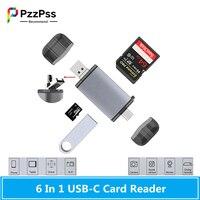 PzzPss-Lector de tarjetas de memoria OTG, 6 en 1, USB tipo C/MicroUSB/USB2.0/TF/SD, para ordenador, portátil, teléfono Android