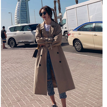 2019 Autumn Women Long Trench Coat With Belt Turn Down Collar Women Clothes Long Coat Casaco Feminino Abrigo Mujer Trench Femme wotwoy autumn safari style casual women trench coat raglan sleeve double breasted belt pockets trench turn down collar top women