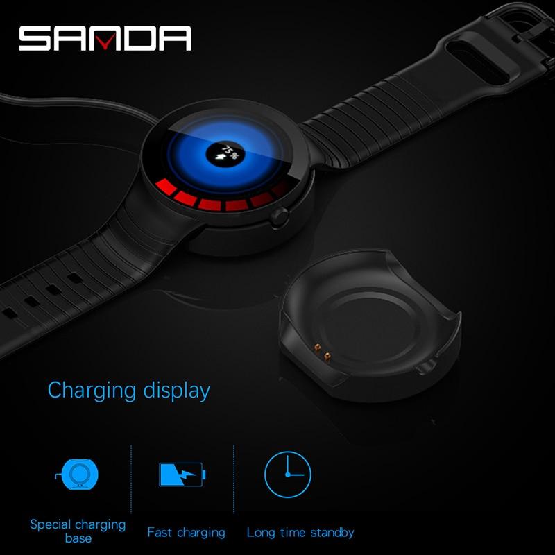 Bluetooth montre intelligente hommes haut marque fréquence cardiaque et moniteur de pression artérielle Smartwatch Message rappeler alerte météo montre numérique 2