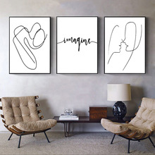 Line Face Drawing Print Minimalist Wall Art Canvas Print Painting Simple Quotes Poster Wall Pictures For Living Room Home Decor цена в Москве и Питере