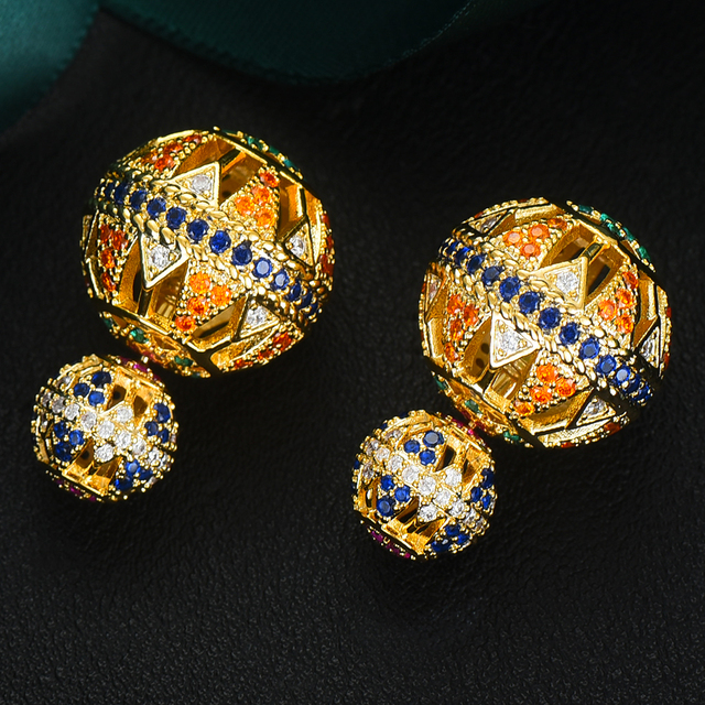 GODKI Luxury Vintage Hollow Ball For Women Wedding Party Cubic Zirconia Earring High Jewelry Addiction