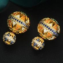 Godki Sang Trọng Vintage Rỗng Bóng Cho Nữ Dự Tiệc Cưới Đính Đá Cubic Zirconia Bông Tai Cao Cấp Trang Sức Nghiện