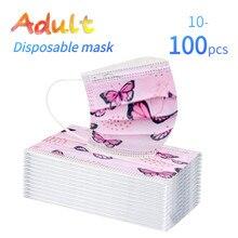 10/20/50/100 pces adulto máscara facial descartável borboleta impresso à prova de poeira 3ply orelha loop unisex boca capa maschere