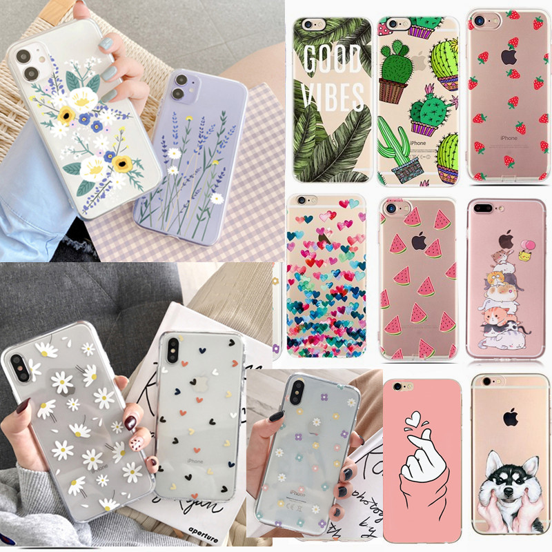 For Fundas iPhone 5S 5 S SE Case Cover Apple iPhone 6 6S 7 8 Plus X XS Cute Heart Silicone Phone Cover Case For iphone 7 capas(China)