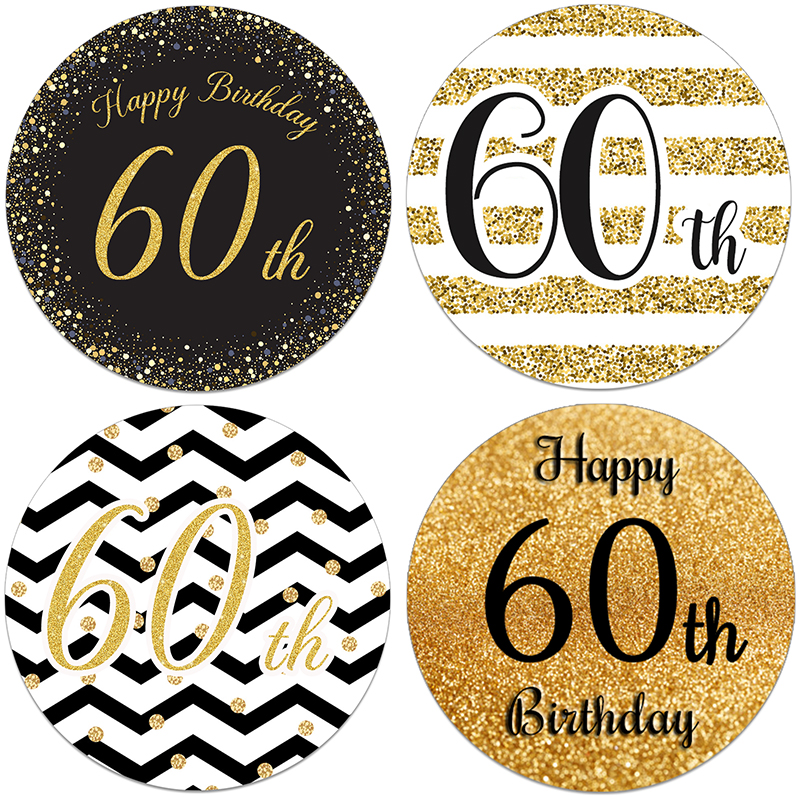 Happy Birthday 60th Birthday Decor Stickers Party Decorations Adult <font><b>60</b></font> Birthday Celebration <font><b>Anniversary</b></font> Seal Labels Gold Sticker image