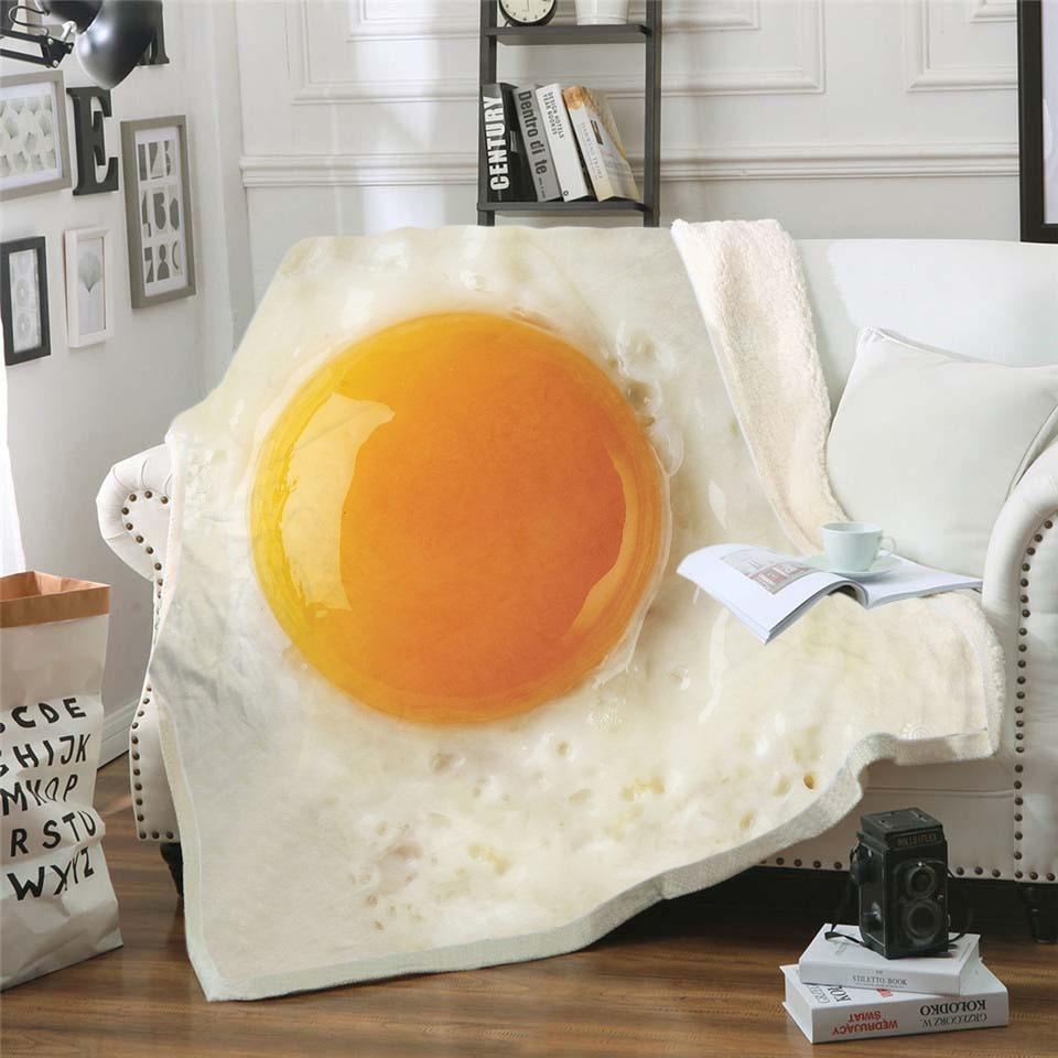 Food Egg 3D Printing Plush Fleece Blanket Adult Fashion Quilts Home Office Washable Duvet Casual Kids Girls Sherpa Blanket